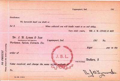 1910-19  2 Unused Original Sight Drafts From Dr. J. B. Lynas Logansport, Indiana