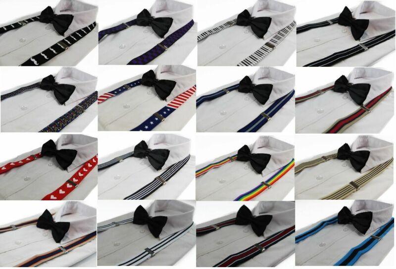 Pack:suspenders + Black Bow Tie Pattern Coloured Print Braces Adjustable Clip On