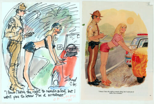 Hugh Hefner SIGNED Doug Sneyd Original Art Prelim Sketch Playboy Gag Rough 2011