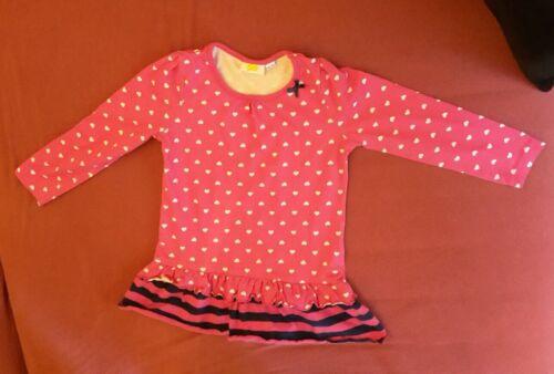 Langarm- Nachthemd in Pink mit weißen Herzen Der Größe 98/104 Von Kids