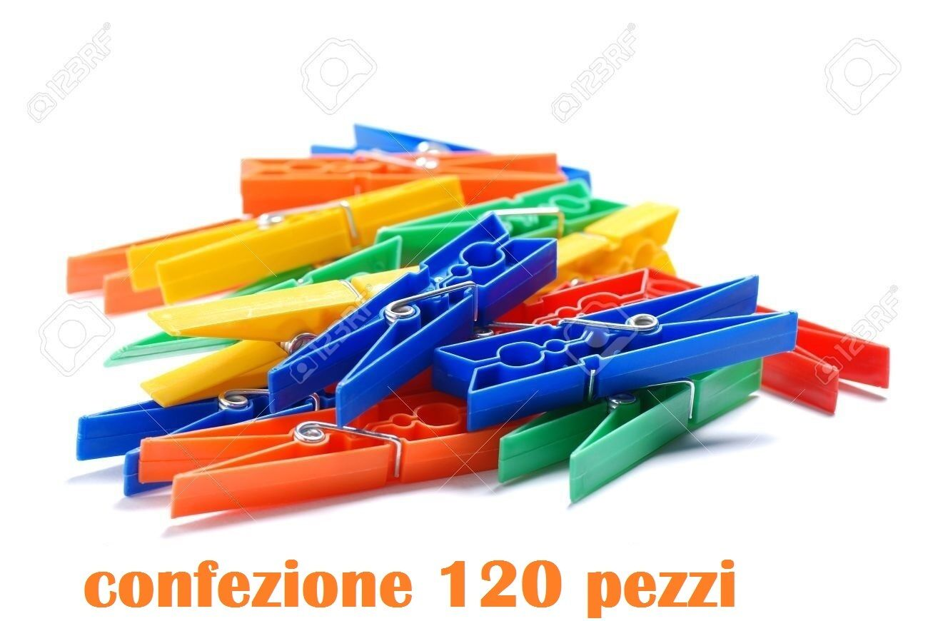 Set 120 Pezzi Mollette Pinze Bucato Panni Plastica ExtraForte Colorate moc