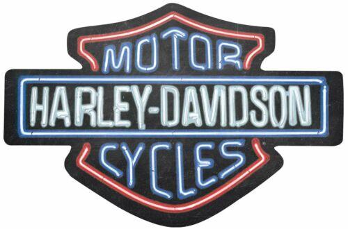 HARLEY DAVIDSON SHIELD LOGO NEON LOOK HEAVY DUTY USA MADE METAL ADVERTISING SIGN