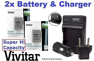 2300 mAh 2 Pcs EN-EL14a Battery for Nikon D5200 D5100 D3200 D3100 (FREE CHARGER) for sale  Shipping to India