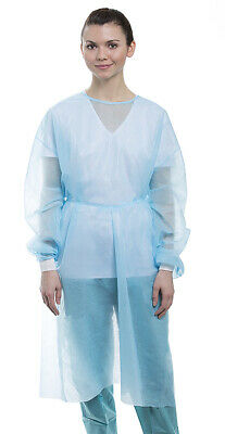 10 Isolation Gown W Knit Cuff Disposable Dental Medical Breathable-blue Valumax