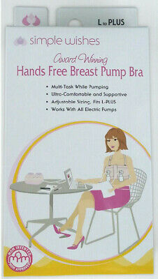 Simple Wishes Hands Free Signature Nursing Breast Pumping Bra Large Plus Black