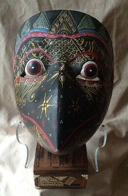 Vintage Hand Carved Painted Mask Wooden Sumatra Ceremonial Bird Like Colorful