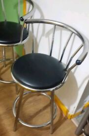 Pair of Leather Effect bar stools