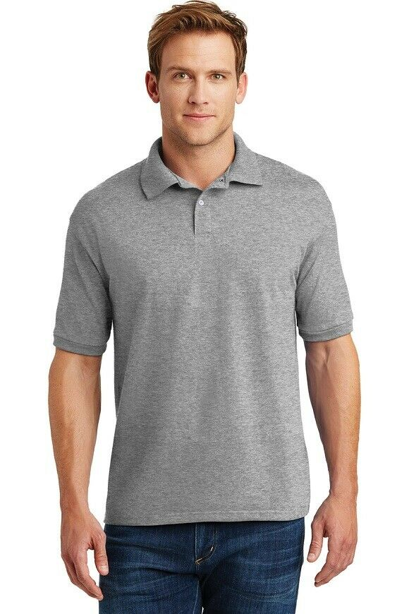 HANES MEN'S COLLARED SHORT SLEEVED SHIRT,GRAY,LARGE