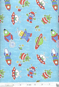 Teddy bears in space flannel quilt fabric 1 yard ebay for Space flannel fabric