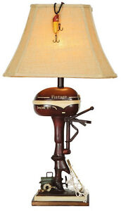 Boat-Motor-Table-Lamp-Nautical-Red-Outboard-Rustic-CL3404-Vintage-Direct