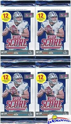 (4) 2017 Score Football HUGE Factory Sealed Retail Packs-48 Cards! Mahomes RC Yr