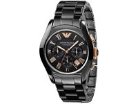 Armani Black Round Dial ar1410 Ceramic Case Men's Watch RRP £479 Now Only £129