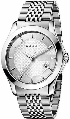 New Gucci G-Timeless Silver Dial Stainless Steel Bracelet YA126401 Mens Watch