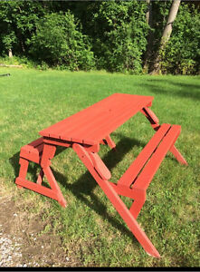 Bench and picnic table