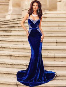 New royal blue velvet & lace evening prom cocktail long dress Size L UK 12