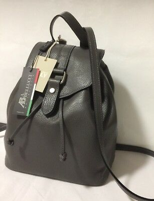 NWT A. Bellucci Gray Soft Pebbled Leather Drawstring Backpack Shoulder Bag Purse