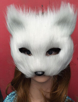 Masquerade Half Face Mask Halloween White Fox Animal Masks Men And - Half And Half Face Halloween