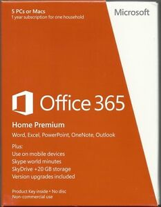 Microsoft Office 365 Home Premium 5 PCs or MACs 1 Year Subscription 6GQ-00241