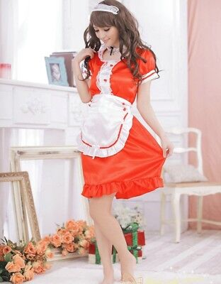 Sexy Hot Red France Maid Cosplay Fancy Dress, Party Uniform Costume, Size 8-12