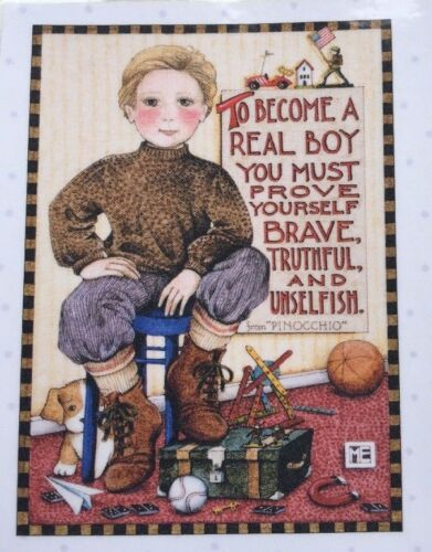 Mary Engelbreit Handmade Magnet-To Become A Real Boy You Must Prove Yourself