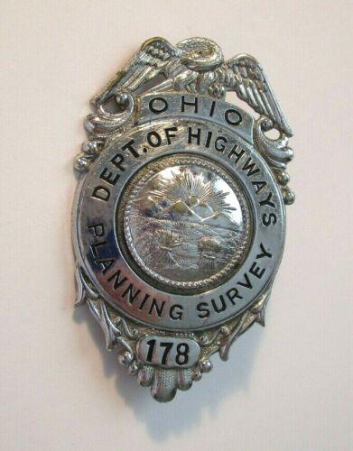 Vintage Obsolete Ohio Dept. of Highways Planning Survey Badge