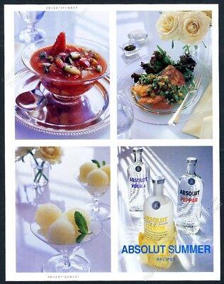 1992 Absolut Summer vodka recipes drinks photo 2-sided vintage print ad - Summer Drinks Recipe
