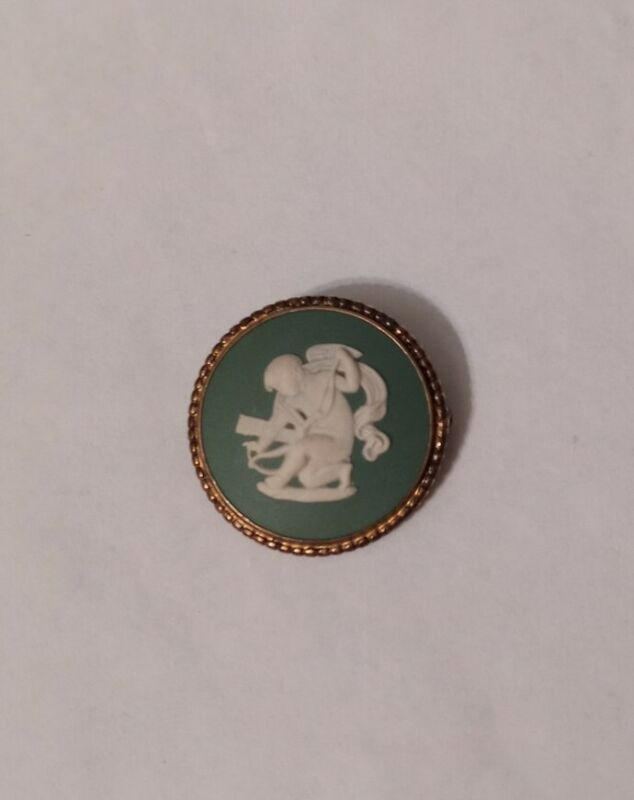 Vintage Green Cameo Brooch Pin Signed Wedgwood Made in England