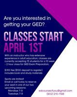 GED Classes starting April 1st!