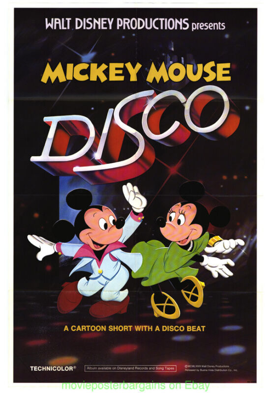 MICKEY MOUSE DISCO MOVIE POSTER 27x41 FOLDED DISNEY ANIMATION SHORT