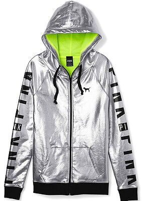 Victorias Secret PINK FASHION SHOW SILVER metallic bling gym Jacket Hoodie neon