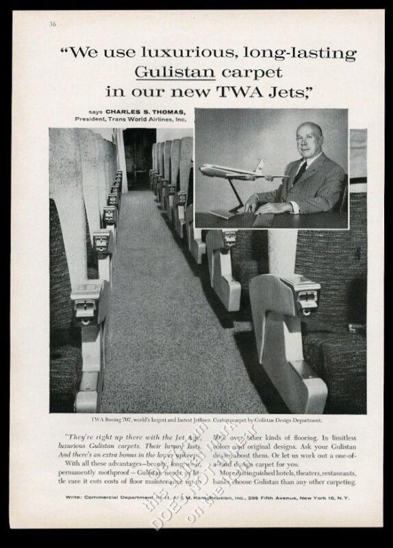 1959 TWA airlines President Charles S Thomas photo Gulistan vintage print ad