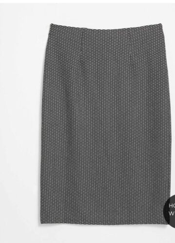 Ann Taylor LOFT Pull On Pencil Skirt ~ Black pattern ~ Size Large ~ NWT