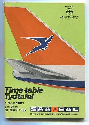 SOUTH AFRICAN AIRWAYS SAA TIMETABLE WINTER 1981/82 SAL