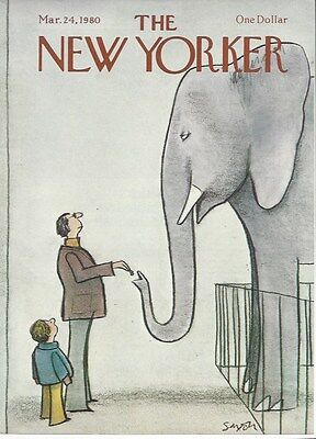 Cover Only  The New Yorker Magazine March 24  1980   Saxon   Elephant Man Son