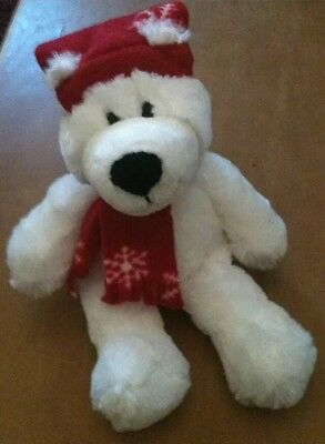 Princess Soft Toys White Bear With Hat and  Scarf Plush 12""