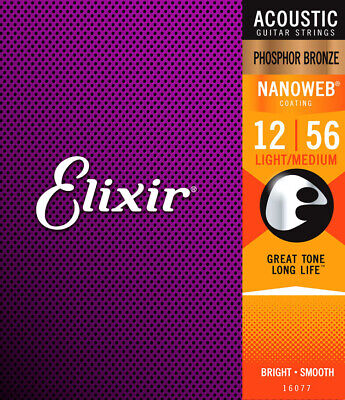 ELIXIR Nanoweb Coated Phosphor Bronze ACOUSTIC GUITAR Strings 16077 NEW - $12.20