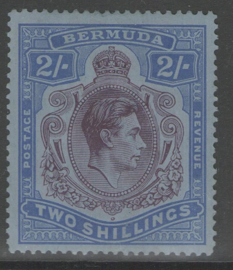 BERMUDA SG116b 1941 2/= DEEP PURPLE & ULTRAMARINE/GREY-BLUE p14¼ MTD MINT