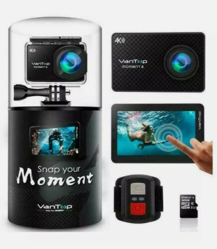 VanTop Moment 4 4K Sports Action 20MP Action Camera W/Touch Screen 4.2 LCD, NEW - $60.00