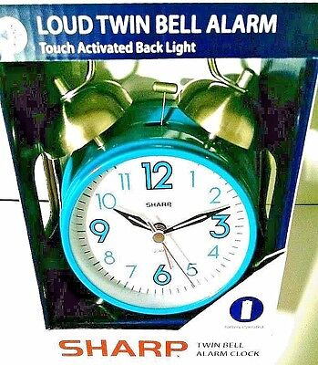 Sharp Battery Operated Twin Bell Alarm Clock w/Touch Activated Back Light Teal