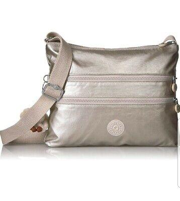 Kipling Alvar Cloud Grey Metallic across body shoulder bag New Rrp£77