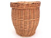 Round Wicker laundry snake Chalmers basket with lid