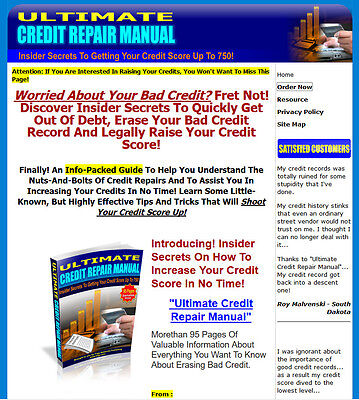 Ultimate Credit Repair Manual Website For Sale W Sales Page Resell Rights.