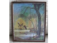 """PICTURE, wood framed, glass fronted, pretty glistening scene, Pheasants in flight - 11"""" x 9"""" g.c."""