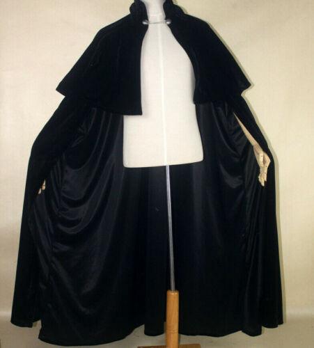 Black Pleuche Cloak Stand Collar Gothic Vampire Demon Medieval Victorian Shawl