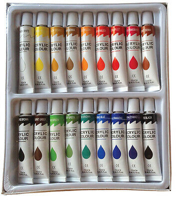 18 PC ACRYLIC PAINTS Set Professional Artist Painting Pigment Tubes 12ml
