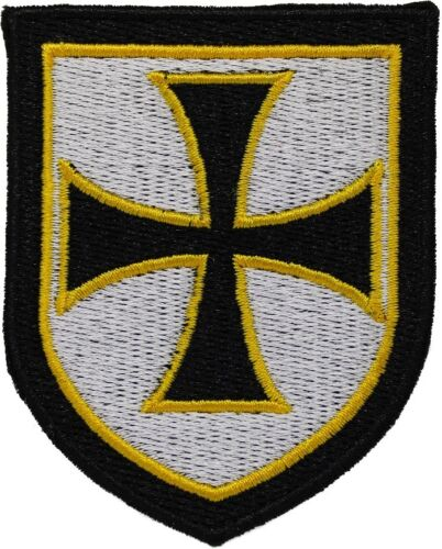 KNIGHTS TEMPLAR BLACK SHIELD iron-on PATCH embroidered CRUSADES