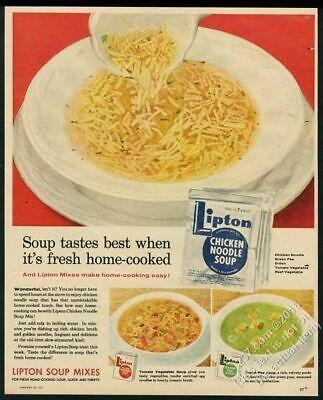 1957 Lipton chicken noodle soup mix color photo vintage print ad