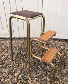 Vintage Tubular metal folding stool step