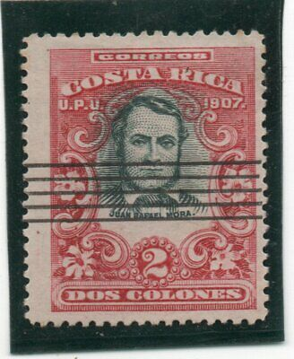 COSTA RICA 1907, scarce 2 COLONS perfor. 14, Sc.68a, Michel 62C, line annulation