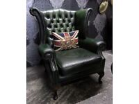 Beautiful Vintage Chesterfield Queen Anne Wing Back Chair Green Leather WIDE - UK Delivery